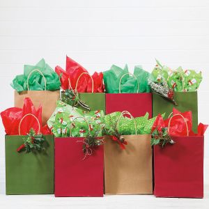 Red, Green & Natural Kraft Gift Bags