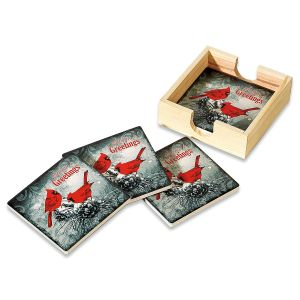 Cardinal Coasters with Wooden Storage Box