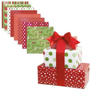 Christmas Patterns Flat Gift Wrap Value Pack