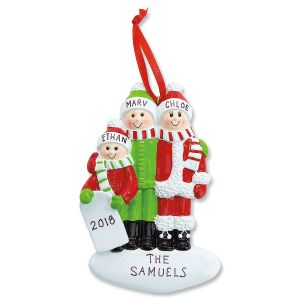 Playing in Snow Personalized Christmas Ornaments