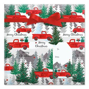 Red Truck  Jumbo Rolled Gift Wrap and Labels