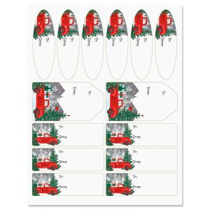 Red Truck Christmas Gift Labels