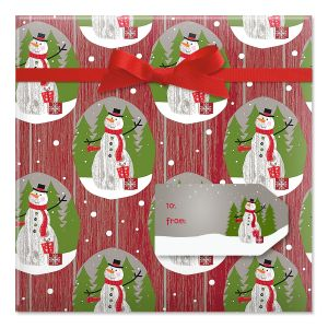 Wood Paneled Snowman Jumbo Rolled Gift Wrap and Labels