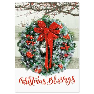Wreath In Snow Christmas Cards - Personalized