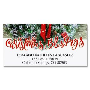 Wreath In Snow Deluxe Address Labels