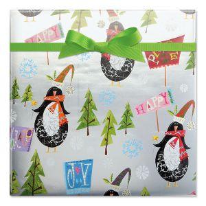 Perky Penquin Scene Foil Rolled Gift Wrap