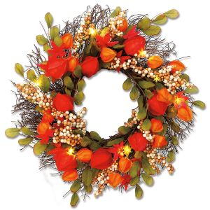 Lighted Lantern Flower Wreath