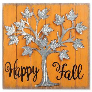 Happy Fall Metal Tree Sign