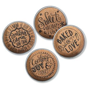 Christmas Mason Jar-Lid Cork Coasters