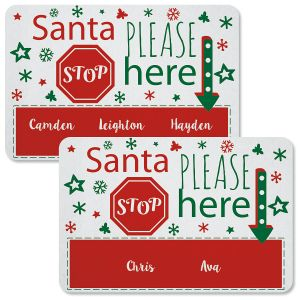 Santa Stop Here Personalized Christmas Doormat