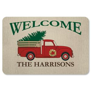 Red Truck Personalized Christmas Doormat