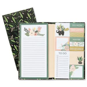 Black Floral Notepad & Sticky Pad Folio Book