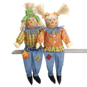 Girl & Boy Sitting Autumn Scarecrows