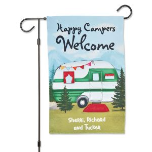 Personalized Camper Flag & Metal Flag Stand