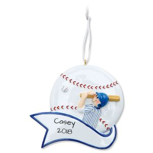 Baseball Boy Personalized Christmas Ornament