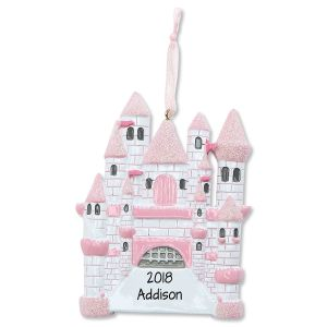 Pink Castle Personalized Christmas Ornament