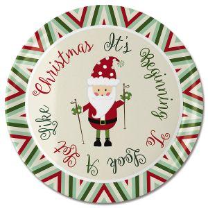 Round Santa Cookie Platter
