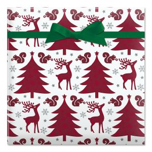 Reindeer and Trees Foil Rolled Gift Wrap