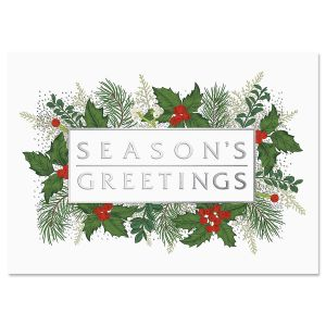 Greenery Border Ultra-Deluxe Christmas Cards