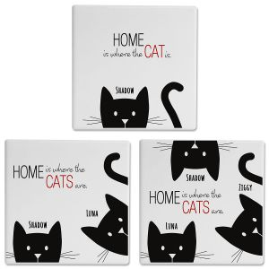 Cat Personalized Ceramic Coasters