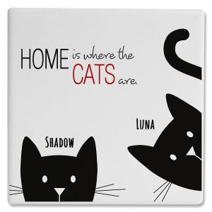 Personalized 2 Cats Coasters