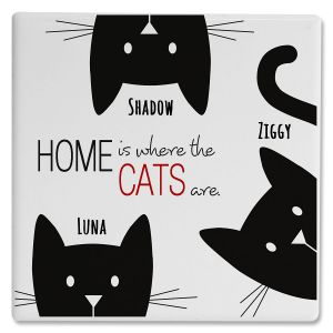 Personalized 3 Cats Coasters