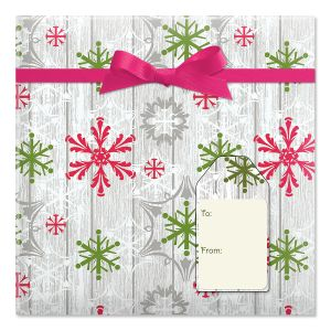 Wood Wash Flakes Jumbo Rolled Gift Wrap and Labels