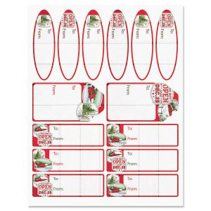 Red Barns Gift Wrap To/From Labels