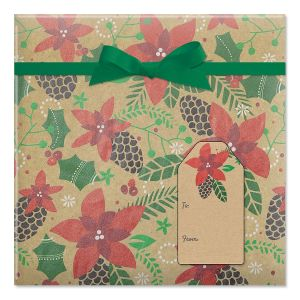 Modern Poinsettia Jumbo Rolled Gift Wrap and Labels