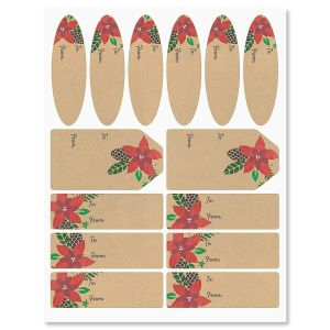 Modern Poinsettia Labels