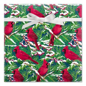 Cardinal on Snowy Branch Classic Rolled Gift Wrap