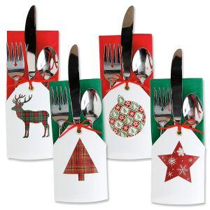Christmas Tags Flatware Holders