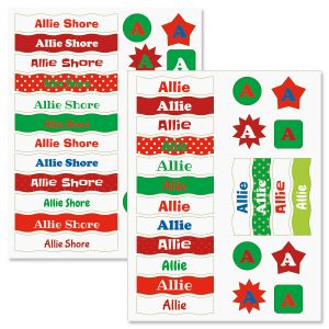 Kids Christmas Name Sticker Sets