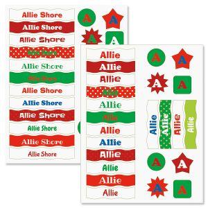 Kids Christmas Name Sticker Sets
