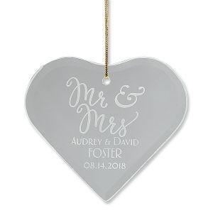 Personalized Mr. & Mrs. Glass Ornament