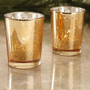 Gold Glass Tealight Holders
