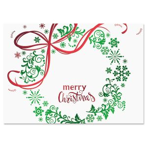 Christmas Wreath Deluxe Foil Christmas Cards