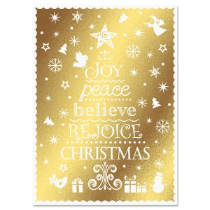 Rejoice Tree Deluxe Foil Christmas Cards