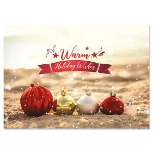 Coastal Ornaments Deluxe Foil Christmas Cards