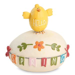 Chick on Springtime Egg Resin Figurine