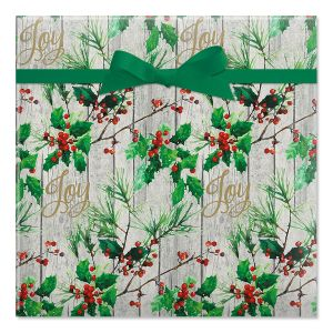 Holly and Pine Rolled Gift Wrap