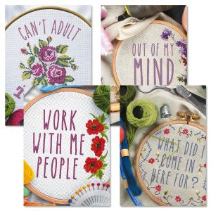 Funny Cross Stitch Birthday Cards and Seals