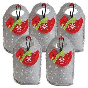 Cardinal Ornament Felt Treat Bags