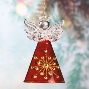 Red and Gold Glass Angel - BOGO