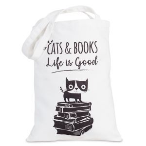 Cats & Books Canvas Tote