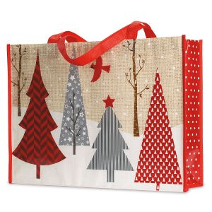 Red & Grey Christmas Trees Shopping Tote - BOGO