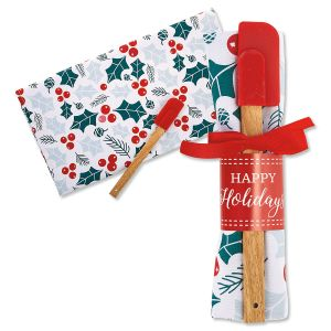 Christmas Holly Towel & Spatula Set