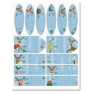 Playful Reindeer Christmas Labels