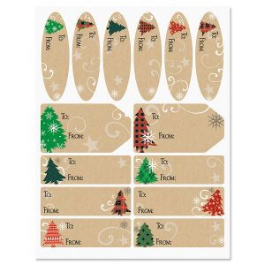 Plaid Trees on Christmas Kraft Labels