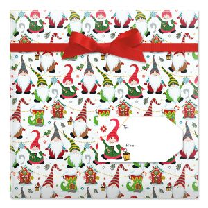 Joyful Gnomes Jumbo Rolled Gift Wrap and Labels